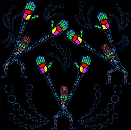 war paint: Dibujo vectorial de nativo en un fondo blanco