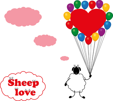 sheeps: Vector drawing sheeps love on blank background.