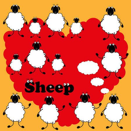 ewe: Vector drawing different sheeps on blank background.