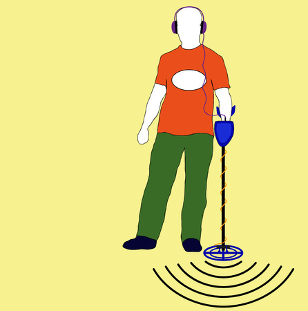 detector: silhouette of a man with a metal detector Illustration