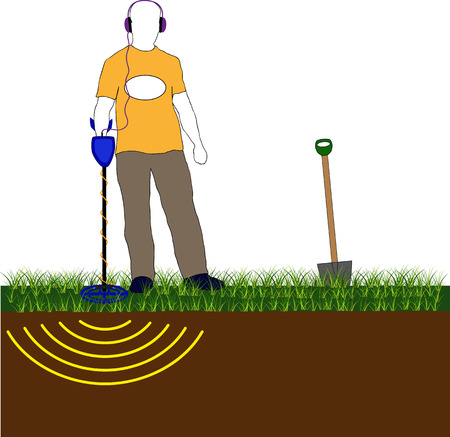 detecting: silhouette of a man with a metal detector Illustration