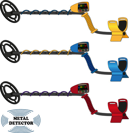 vector drawing of the metal detector on a white background