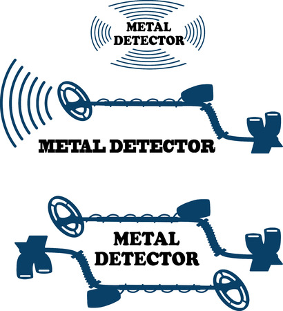 detect: vector illustration silhouette on a white background metal detector