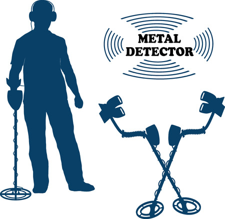 metal detector: vector illustration silhouette on a white background metal detector