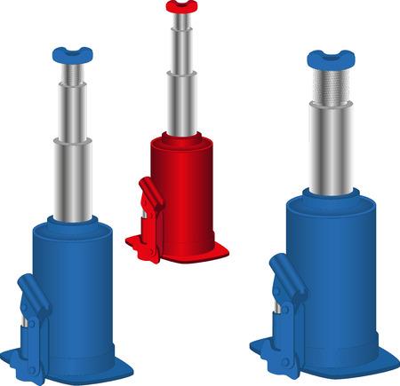 idraulico: Martinetto idraulico per sollevare la macchina, isolato.