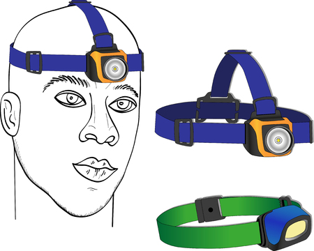 headlamp: Tourist headlamp, hiking equipment. Isolated vector illustration Illustration