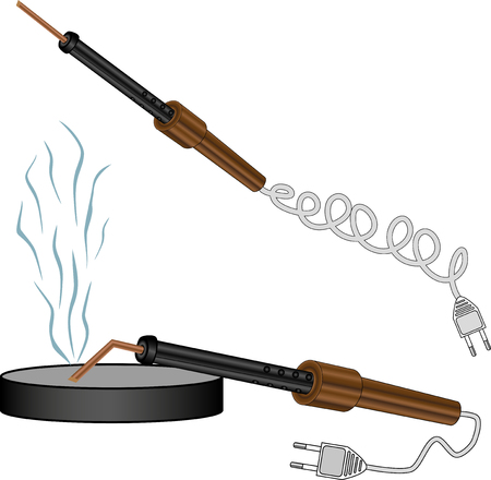 brazing: drawing on a blank background soldering iron