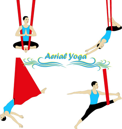 to gravity: Aerial Yoga. Anti-gravity Yoga. Woman doing anti gravity yoga exercise.