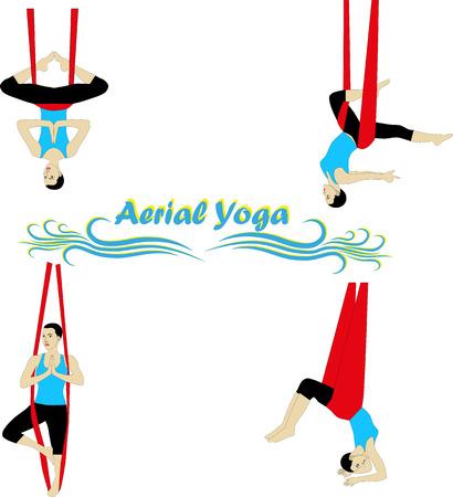 gravedad: Yoga aérea. Yoga antigravedad. Mujer que hace ejercicio de yoga contra la gravedad.
