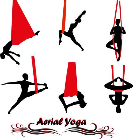 gravedad: Yoga a�rea. Yoga antigravedad. Mujer que hace ejercicio de yoga contra la gravedad. Silueta. Vectores