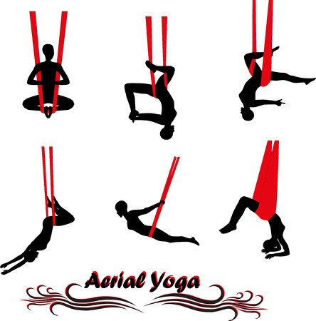 to gravity: Aerial Yoga. Anti-gravity Yoga. Woman doing anti gravity yoga exercise. Silhouette.