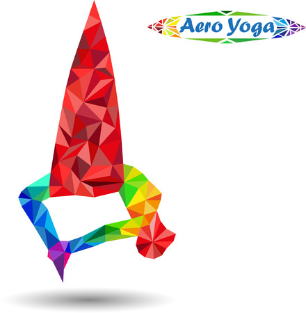 Aerial Yoga. Anti-zwaartekracht Yoga. Aero Yoga. Afbeelding van driehoeken