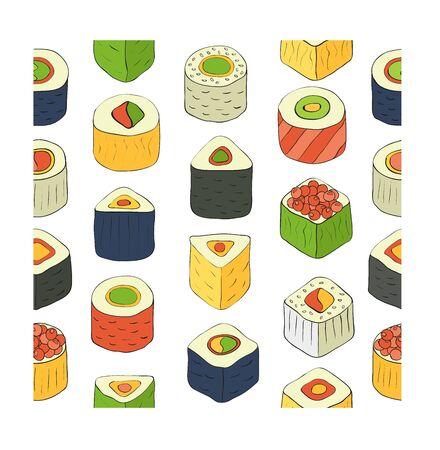 rolled: Flat design rolled sushi pattern. Vector Illustration Illustration
