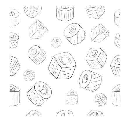 rolled: drawing of rolled sushi pattern. Vector Illustration