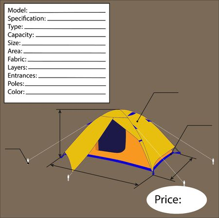 single entry: Illustration of tourist tents detailing. Vector Illustration Illustration