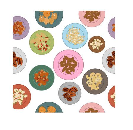 filberts: Different nuts on plates pattern. Vector illustration Illustration