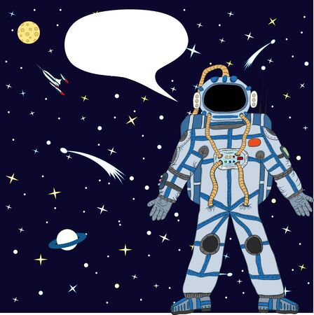 Vector tekening van een astronaut in de ruimte. Vector tekening Stock Illustratie