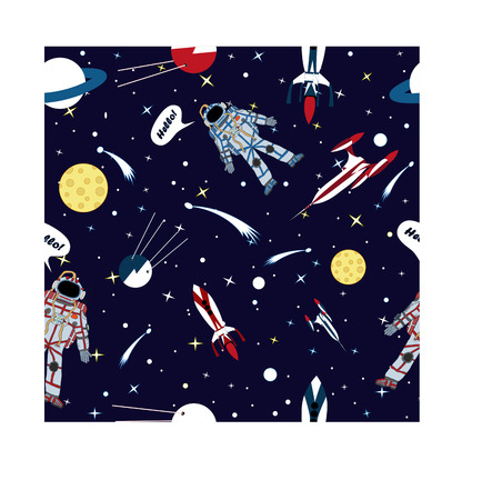 astronaut: Vector drawing of a astronaut in space. Pattern. Illustration