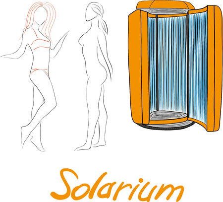 solarium: Hand drawing a sun deck on a white background