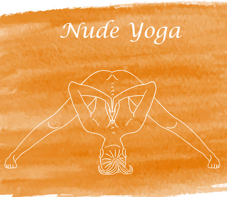 nude young: Nude yoga. Beautiful body of young woman. Vector drawing Illustration