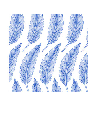 workmanship: Watercolor pattern feather. Vector illustration. Colorful seamless