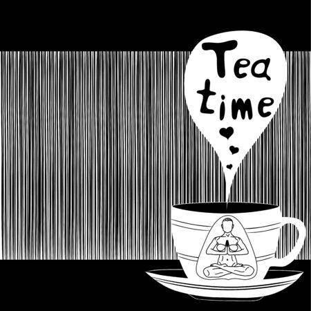 la hora del te: Tea time card. Vector illustration. Tea time party invitation. Vectores