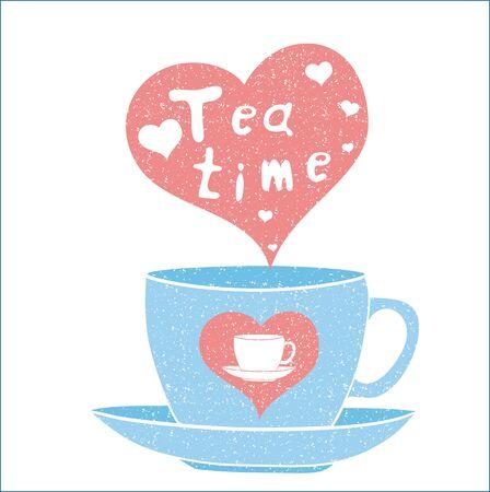 tea time: Tea time card. Vector illustration. Tea time party invitation. Illustration