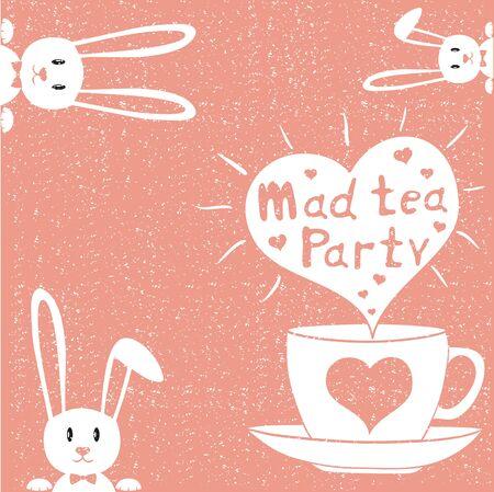 tea time: Mad tea party card. Vector illustration. Tea time party invitation.