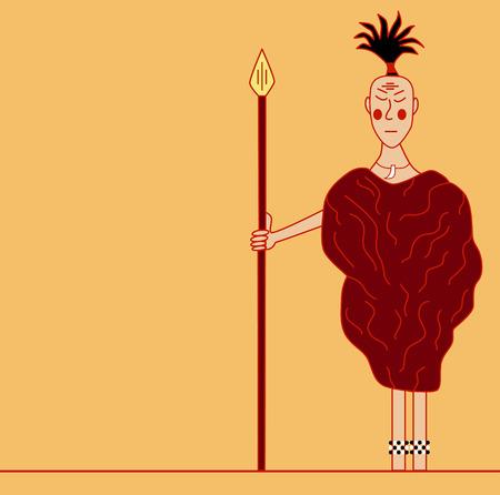 aborigine: Ancient aborigine. Vector outline image. Hunter illustration.