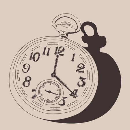 collectibles: Watch vintage illustration, engraved retro style, hand drawn, sketch.