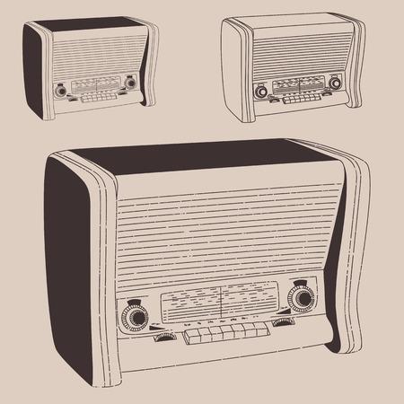 radiogram: Radiogramophone vintage illustration, engraved retro style, hand drawn, sketch.