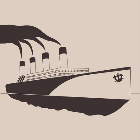 Steamship vintage illustration, engraved retro style, hand drawn, sketch. Illustration