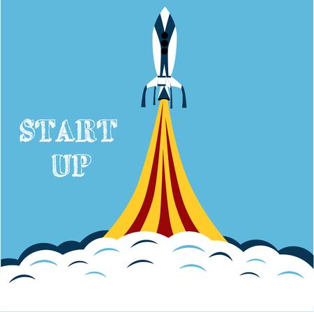 sleek: Illustration Launch Rocket. Sleek style. Start of the project
