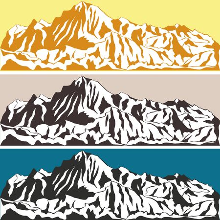 산맥: Vector illustration of a mountain range. Alpine glacier