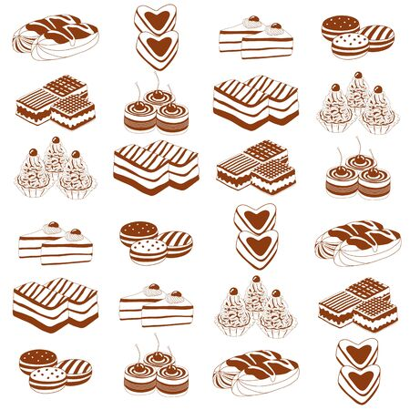 speisekarte: Vector illustration of different funny cakes. Retro style
