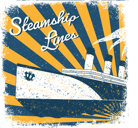 steamship: Steamship vintage illustration, engraved retro style, hand drawn. Old style banner. Vectores