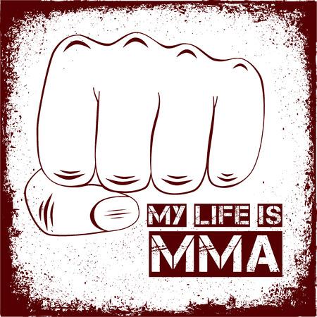 jiu jitsu: My life is MMA. Vector illustration. Banner Illustration