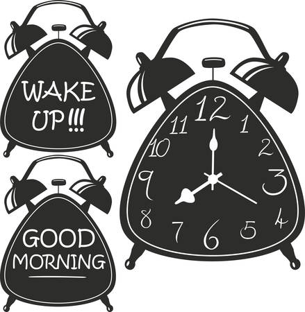 tranquillity: Alarm clock. Hand drawn typography poster. Vector isolated typography design element.