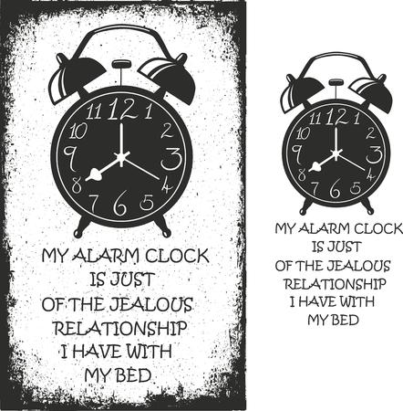 alarmclock: Alarm clock. Hand drawn typography poster. Vector isolated typography design element.