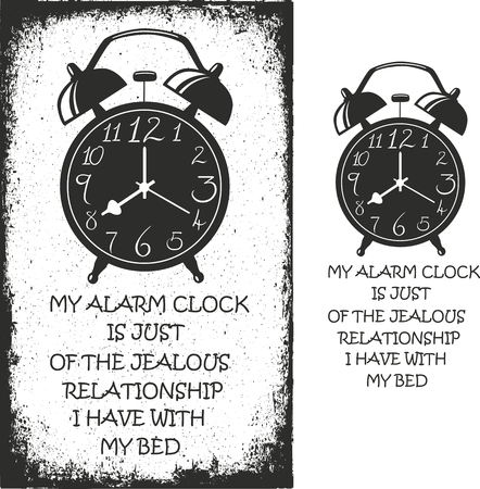 Alarm clock. Hand drawn typography poster. Vector isolated typography design element.