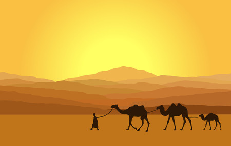 safari: Caravan with camels in desert with mountains on background. Vector illustration