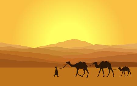 animales del desierto: Caravana con camellos en el desierto con las montañas de fondo. Ilustración vectorial
