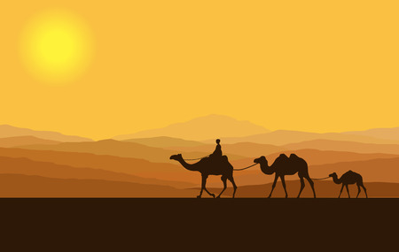 Caravan with camels in desert with mountains on background. Vector illustration