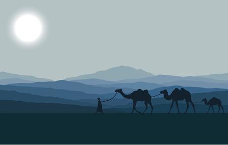 Caravana con camellos en el desierto con las montañas de fondo. Ilustración vectorial Ilustración de vector