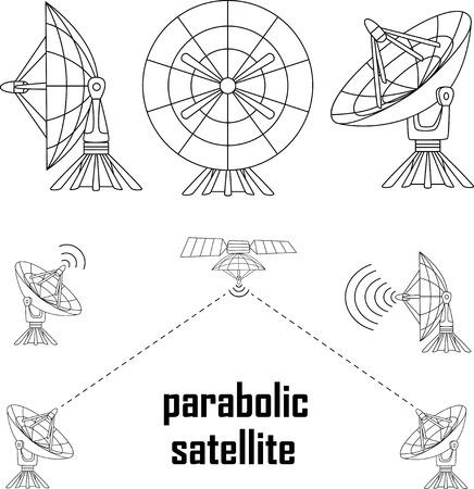 Vector illustratie parabolische Sattelit. Geïsoleerde object op een witte achtergrond