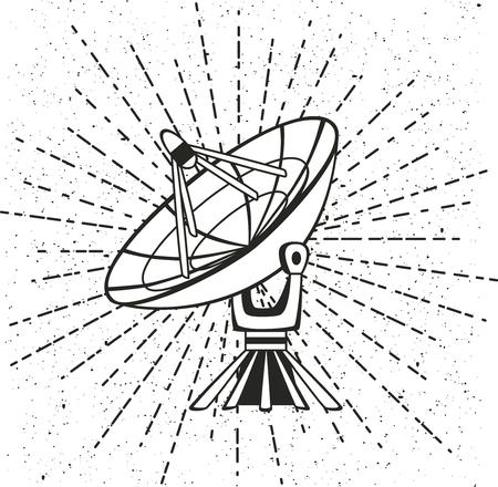 broadband: Vector illustration parabolic sattelit. Isolated object on a white background