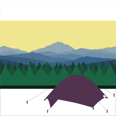 bonfire night: Tourist camp in forest in mountains. Vector drawing. Illustration