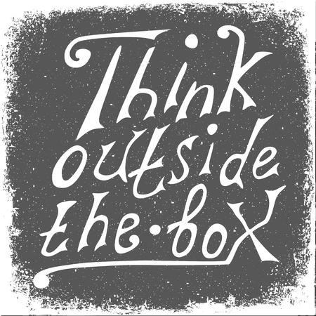 box design: Think outside the box -design element. Handdrawn lettering. Vector art.