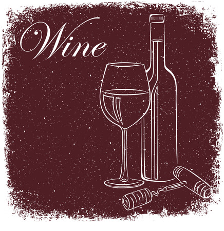 Wine poster. Silhouette of a wine bottle. Illustration