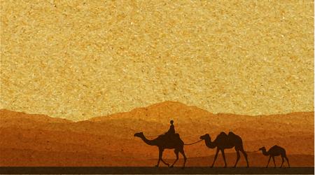 desierto: Caravana con camellos en el desierto con las montañas de fondo. Ilustración vectorial